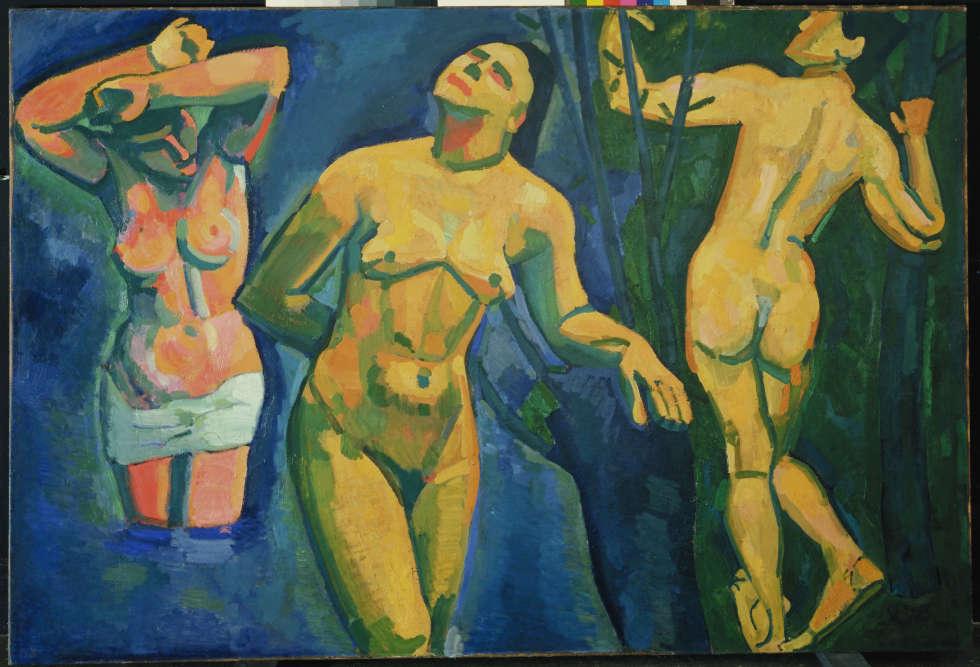 """«En octobre 1907, à la rétrospective d'œuvres de Cézanne au Salon d'automne, sont exposées pour la première fois les""""GrandesBaigneuses""""peintes entre 1894 et 1905 qui révèlent une monumentalité classique et radicale, fondatrice de l'art moderne et des débuts du cubisme. A partir de la fin 1907, Derain décline une série de baigneuses qui scande une évolution rapide, depuis un primitivisme inspiré de Gauguin et de l'art africain vers un néo-byzantinisme cézannien.»"""