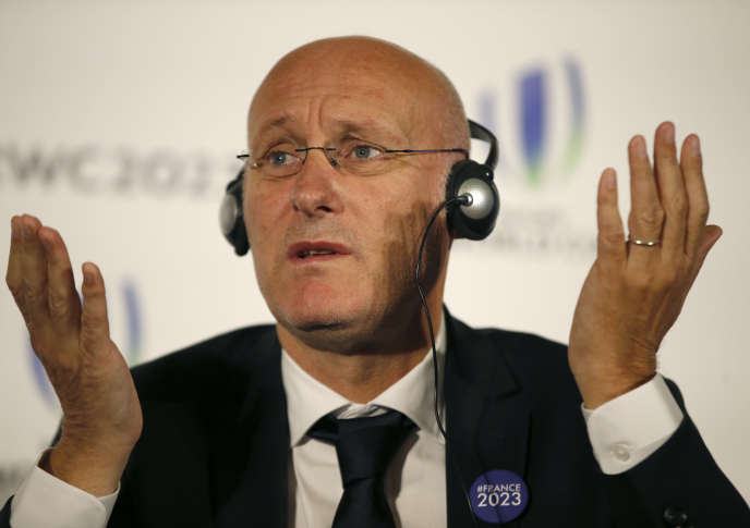 Bernard Laporte lors de la présentation de la candidature française, le 25 septembre 2017.