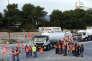 Des routiers installent un barrage à la raffinerie Total de la Mède, près de Marseille, en signe de protestation contre la réforme du code du travail, le 25 septembre.