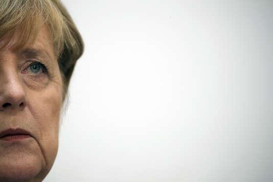 Angela Merkel dans son quartier général de Berlin, le 25 septembre.