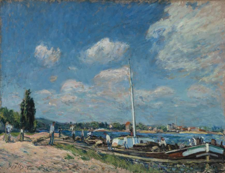 """«Sisley réalisa plusieurs vues de Boulogne-Billancourt, la pluplart d'entre elles donnant à voir– à distance– l'industrialisation croissante de la ville. Dans """"Le Déchargement"""", il choisit un point de vue rapproché et esquisse rapidement le paysage.»"""