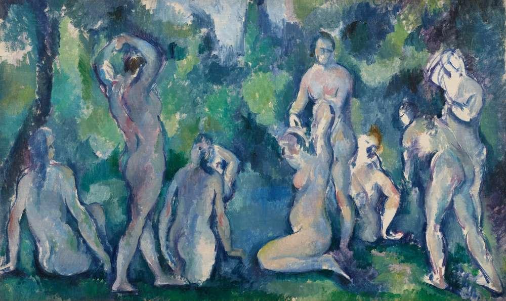 « Le thème du bain est récurrent dans l'œuvre de Paul Cézanne. Il travaillait la composition et l'emplacement des silhouettes à partir de photographies et de dessins préparatoires. Bien que Cézanne fût un grand admirateur de Pissarro, il appartenait à la génération des impressionnistes. »