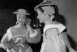 La comédienne Gisèle Casadesus dans le rôle de Perrette dans «La Coupe enchantée», dans sa loge à àla Comédie-Française,le 26 novembre 1952.