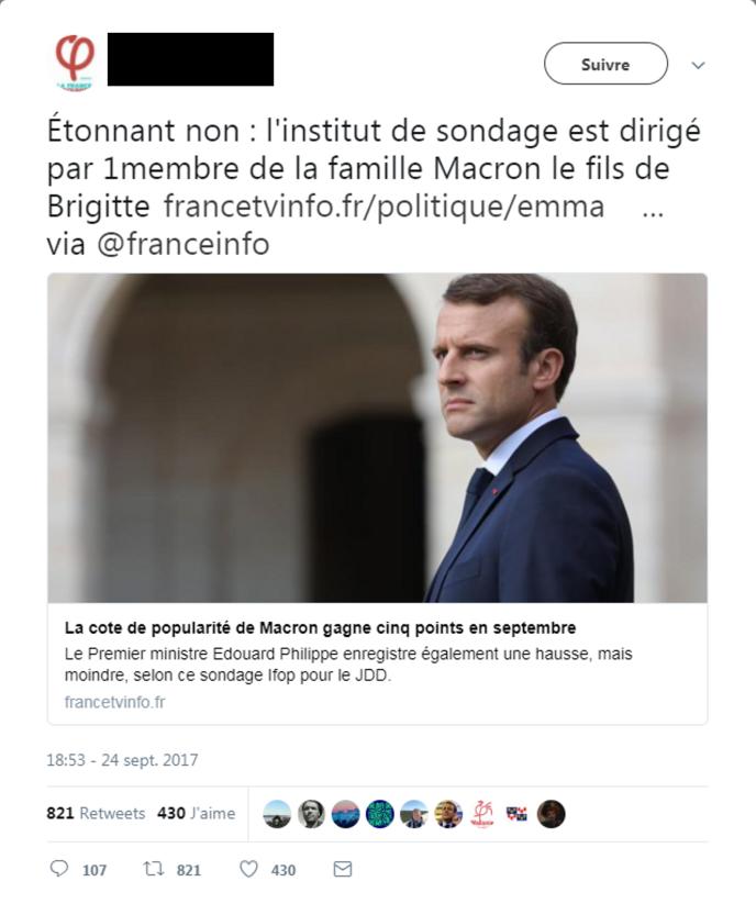 Tweet dénonçant une prétendue « collusion » des Macron avec l'IFOP.