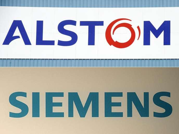 Combinaison des logos des constructeurs ferroviaires Alstom et Siemens, dont l'uniona été officialisée mardi 26 septembre.