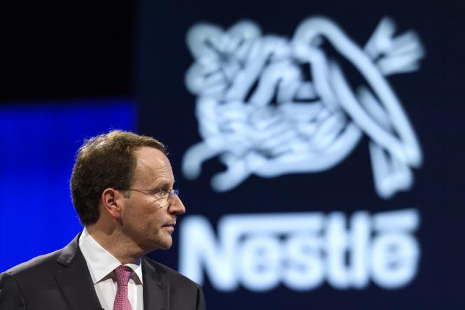 Ulf Mark Schneider, le patron de Nestlé, lors de l'assemblée annuelle des actionnaires, le 6 avril, à Lausanne