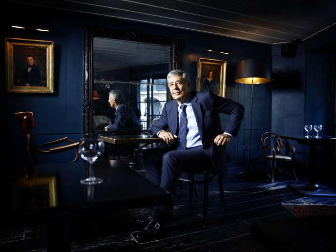 Henri Guaino, désormais éditorialiste à Sud Radio, auHibou, dans le 6earrondissement de Paris, le 15septembre.