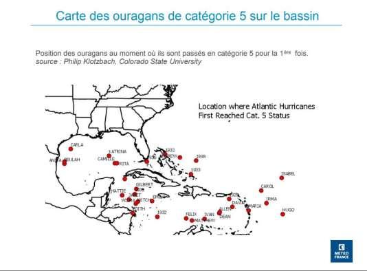 Carte des ouragans au moment où ils se renforcent en catégorie 5.