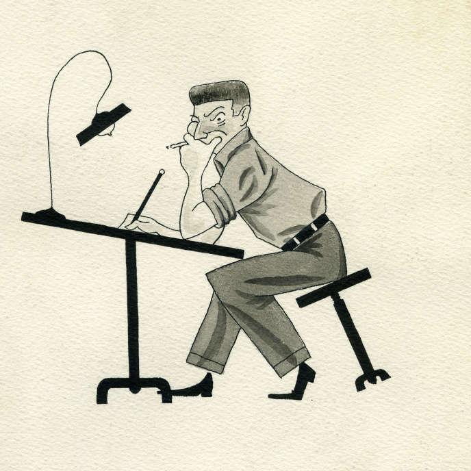 «Autoportrait à la table de dessin» (1948), encre de Chine noire, gouache grise sur papier, 19,7 cm x 16,5 cm.