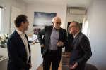 Le Monde Festival aux Bouffes Du Nord, le 24 septembre. Richard Geoffroy (d), Pascal Barbot (g) et Claude Fischler (c)