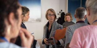 La ministe de la culture Françoise Nyssen, aux Bouffes du Nord à Paris, le 24 septembre pour le Monde Festival.