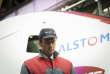 Emmanuel Macron, ministre de l'économie, visite de l'usine Alstom Transport SA de Belfort, chaîne de montage du TGV d'Alstom Transport.