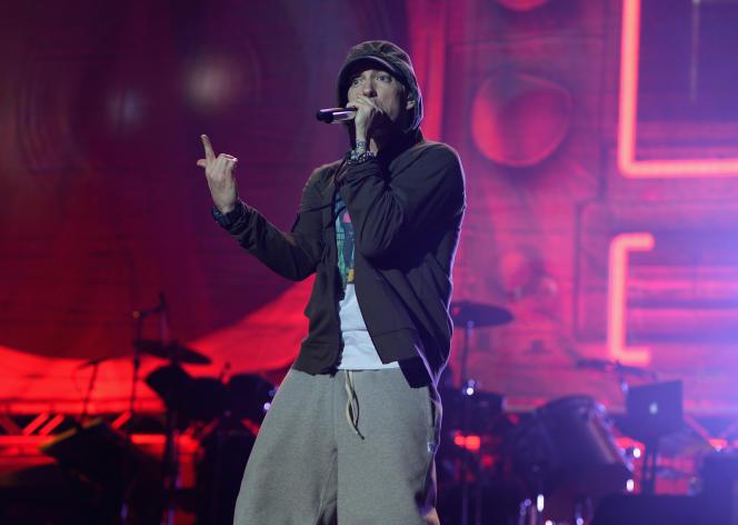 Le rappeur Eminem, en concert à Chicago (Illinois), en août 2014.