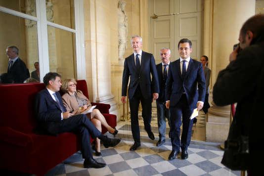 Gérald Darmanin (à droite) et Bruno Le Maire, le 27 septembre 2017, à l'Assemblée nationale.
