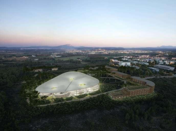 Image réalisée en 3D du site The Camp, à Aix-en-Provence, en 2017.