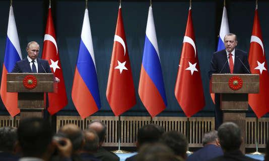 Vladimir Poutine et Recep Tayyip Erdogan, à Ankara, le 28 septembre.