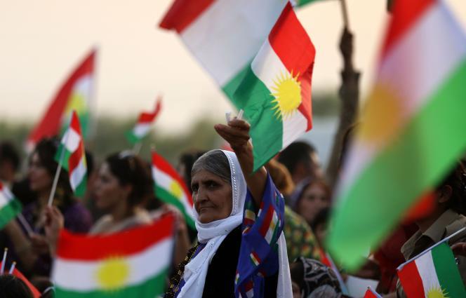 Manifestation pour l'indépendance du Kurdistan irakien, à Bahirka, près d'Erbil, capitale de la région autonome, le 21 septembre.