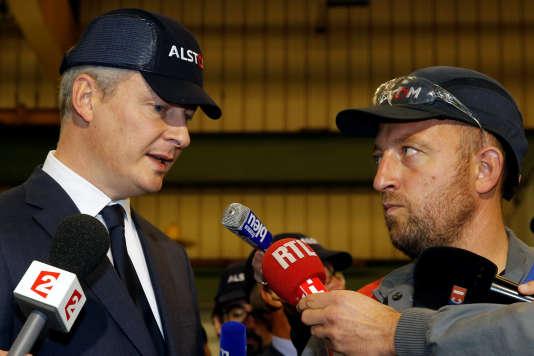 Bruno Le Maire était en déplacement sur le site d'Alstom à Valenciennes, où il a assuré qu'il «croyait à cette fusion»qu'il considère «bonne pour la France».