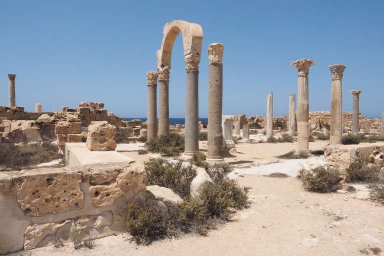 Dans le site archéologique de la ville de Sabratha, le 20 juillet 2017.