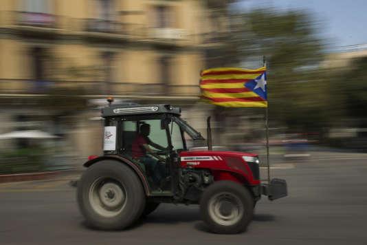 Manifestation d'agriculteurs catalans à Barcelone, vendredi 29 septembre.