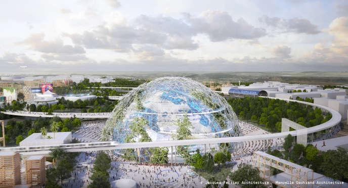Le «globe», projet de Jean-Christophe Fromantin (LR) pour l'Exposition universelle 2025. Un « village global » construit autour d'un « globe connecté qui accueillerait de façon équitable tous les pays », en Ile-de-France.