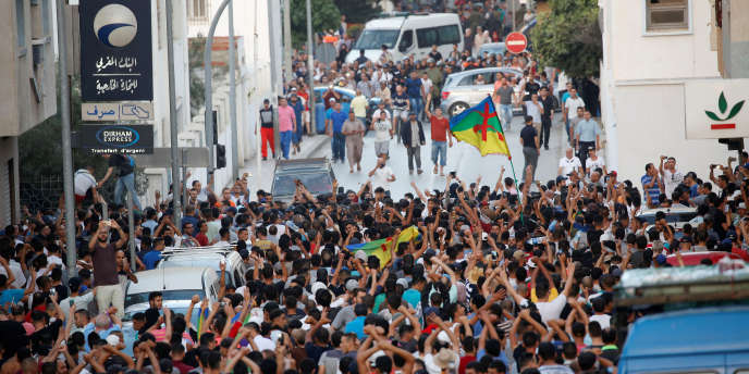Une manifestation à Al-Hoceima, dans le Rif, au Maroc, le 20 juillet 2017.