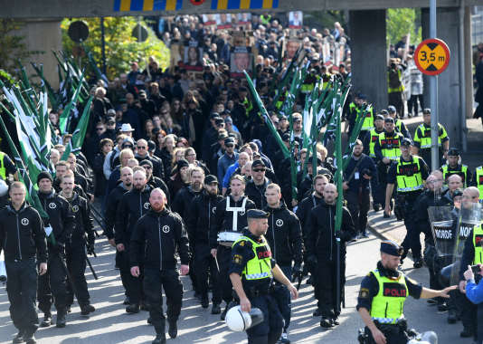 A la manifestation de néonazis suédois, samedi 30 septembre, à Göteborg.