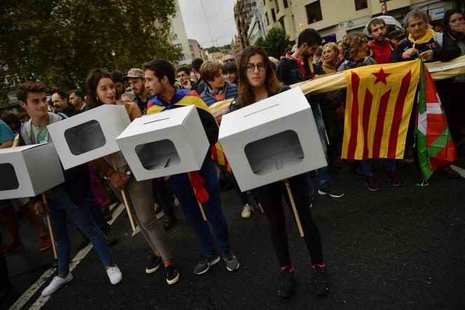 Manifestation en soutien au scrutin à Bilbao, le 30 septembre.