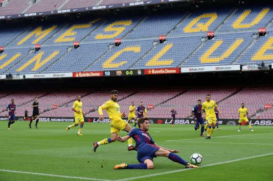 Lors du match à huis clos entre le FC Barcelone et Las Palmas, au Camp Nou, le 1er octobre.