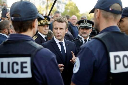 Le président Emmanuel Macron en visite à Lyon, le 28 septembre.