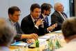 Benjamin Griveaux (au centre),le secrétaire d'Etat auprès du ministre de l'économie, lors d'une réunion avec la direction et les représentants des salariés de Nokia, à Bercy, le 2 octobre.