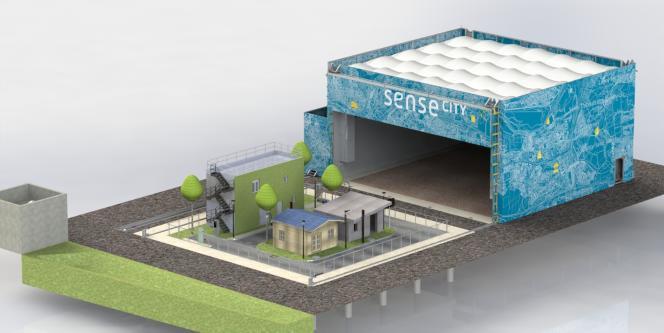 Sense City est une véritable mini-ville, entièrement recouvrable par une chambre climatique pour être soumise à tout type de scénarios climatiques, standards comme extrêmes.