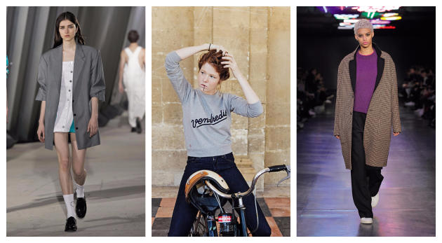 Lecollectif Études Studio (à gauche) et AMI (à droite)proposentdes pièces inspirées du vestiaire masculin,. Le Slip français (milieu)lance une gamme pour filles.
