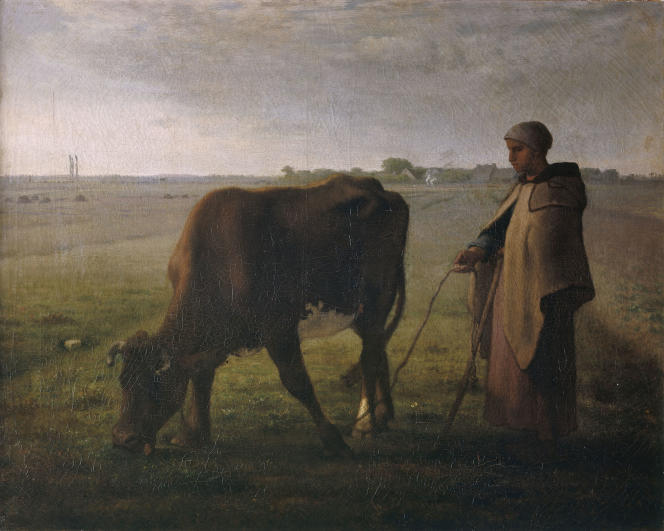 Jean-François Millet (1814-1875),« Femme faisant paître sa vache» (1858). Entre image d'Epinal fantasmée et ambitions concrètes, l'agriculture suscite des vocations en ces temps de pandémie.