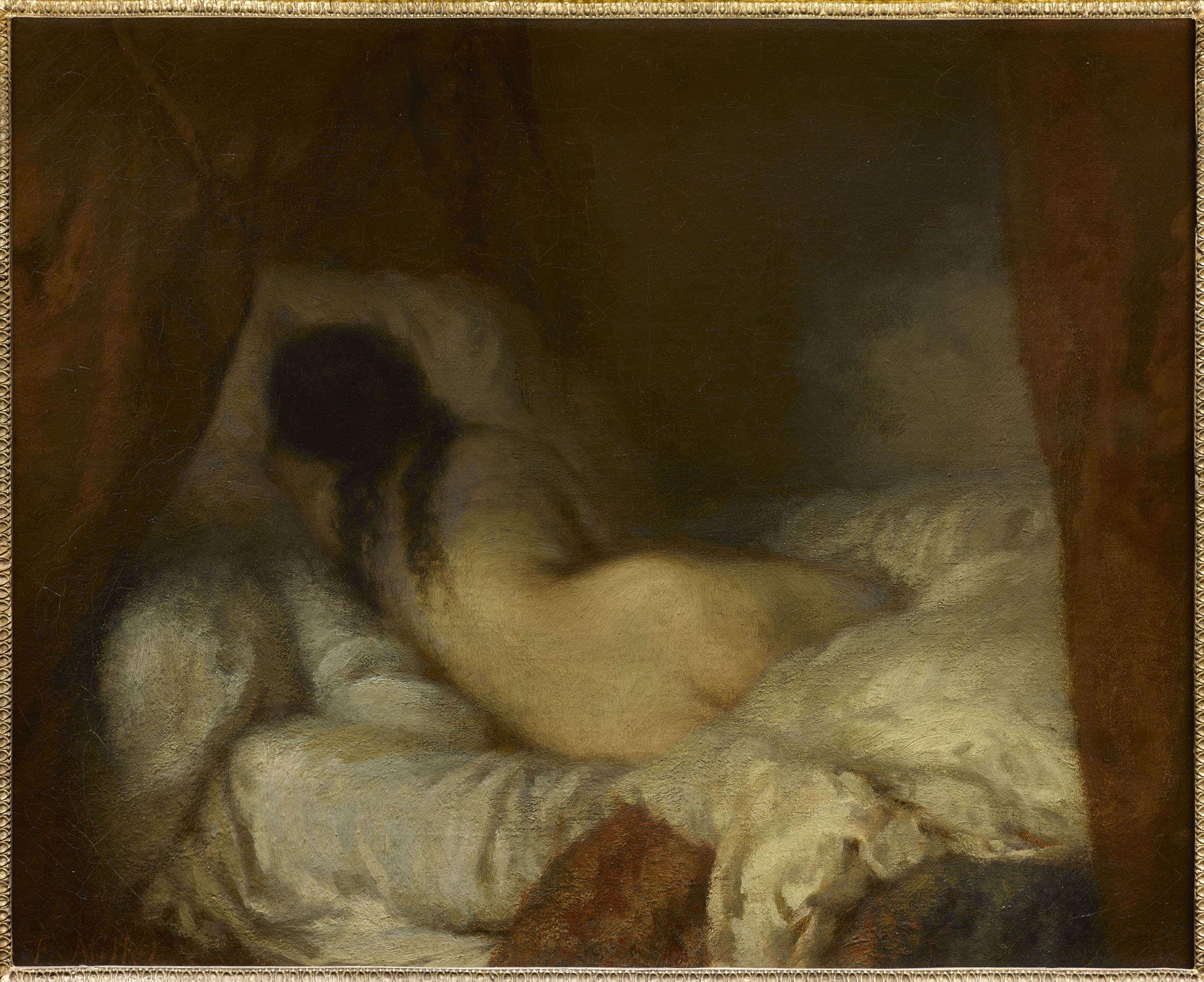 «Une jeune femme nue, les cheveux épars, repose sous une alcôve, sur un lit aux draps froissés. Sans doute dort-elle ; peut-être s'agit-il de Catherine Lemaire, le nouvel amour de Millet ; le sujet est simple, voire inexistant. Tout ici n'est que peinture, ombres et lumière, tendresse et sensualité. Un tableau peint à la manière du XVIIIe siècle, en un moment où Millet cherche encore sa voie.»