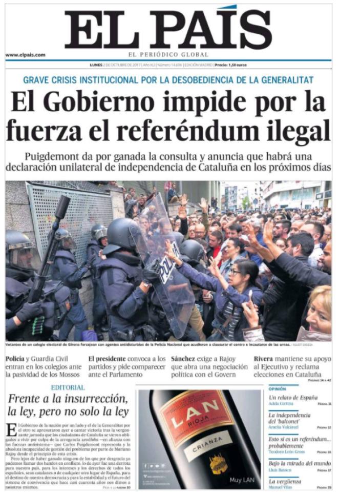 La « une» du quotidien «ElPais», lundi 2 octobre.
