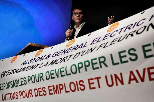 Arnaud Montebourg à Grenoble, le 2 octobre, a présenté un plan qui consiste à presser l'Etat d'exercer son droit d'achat sur les actions Alstom.