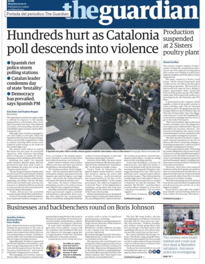 La « une» de «The Guardian«, lundi 2 octobre.