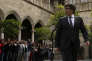 Catalan President Carles Puigdemont arrives for a government meeting at the Palau Generalitat in Barcelona, Spain, Monday, Oct. 2, 2017. Catalonia's government will hold a closed-door Cabinet meeting Monday to discuss the next steps in its plan to declare independence from Spain following a disputed referendum marred by violence. (AP Photo/Manu Fernandez)
