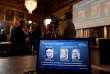 Annonce du prix Nobel de physique pour les Américains Weiss, Barish et Thorne, à Stockholm en Suède, le 3 octobre.