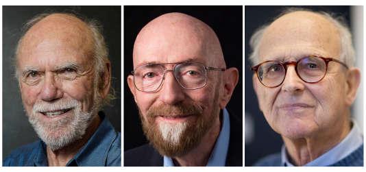De gauche à droite, les trois lauréats américains du prix Nobel de physique : Barry Barish, Kip Thorne et Rainer Weiss.