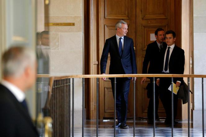 Bruno Le Maire, ministre de l'économie, et Gérald Darmanin, ministre de l'action et des comptes publics, à l'Assemblée nationale, le 27septembre.