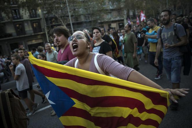 Manifestation pour l'indépendance à Barcelone, le 3 octobre 2017.