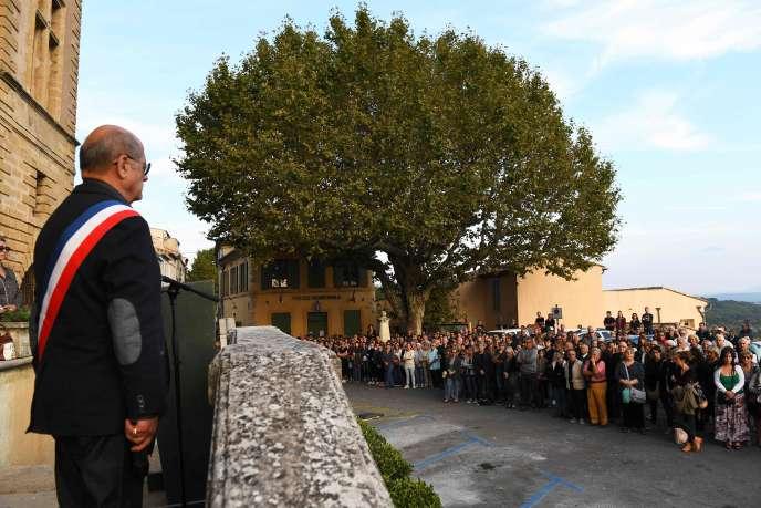 A Eguille lors de l'hommage rendu à Mauranne, tuée à Marseille le 1er octobre.