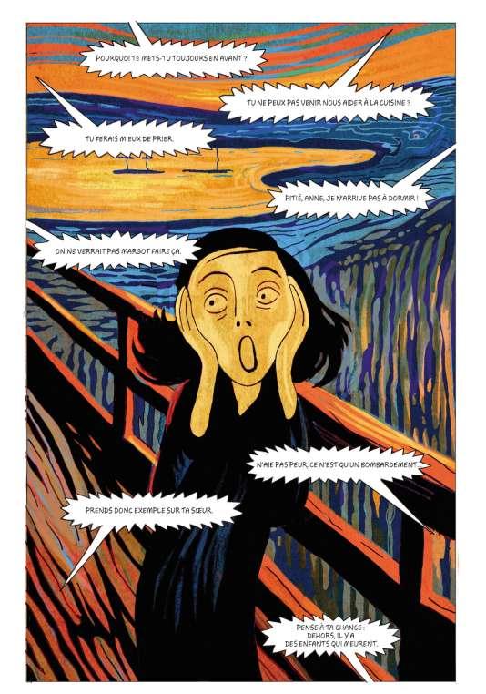 Dans l'adaptation, plutôt fidèle, du «Journal d'Anne Frank», les deux auteurs ont pris quelques libertés, propres à la BD, comme le détournementdu «Cri», l'œuvre d'Edvard Munch.