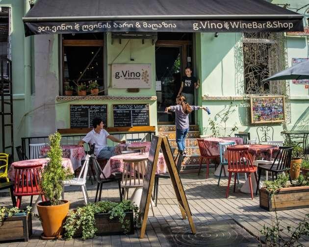 Le bar g.Vino à Tbilissi.