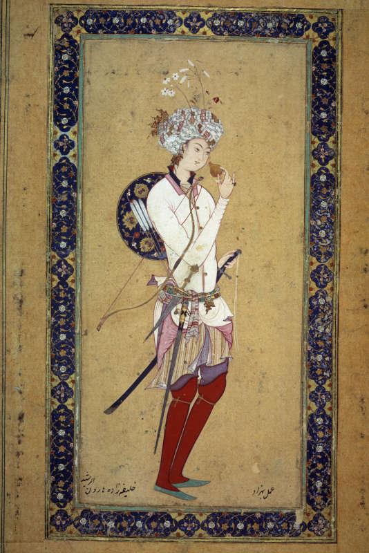 Portrait de Haroun Al-Rachid (765-809), cinquième calife abbasside. Miniature perse du XVIe siècle. Paris, Bibliothèque nationale.