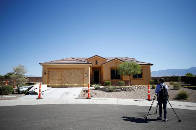 Devant la maison de Stephen Paddock, à Mesquite dans le Nevada, le 3 octobre.