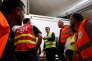 Emmanuel Macron rend visite à des salariés de Whirlpool à Amiens, le 3 octobre.
