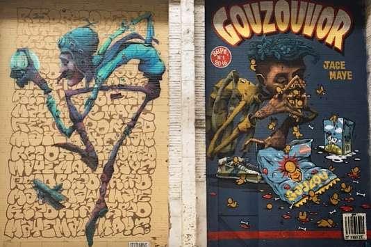 Deux des dizaines de fresques de Mister Freeze : une collaboration Maye et Réso, une autre entre Maye et Jace.